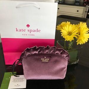 Kate Spade ♠️NWT plum Velvet Makeup Case